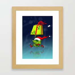 Christmas Elf Bringing a Gift Framed Art Print