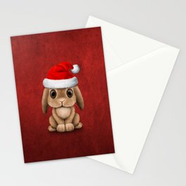 Cute Floppy Eared Baby Bunny Wearing a Santa Hat Stationery Cards
