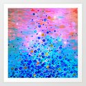 WHAT GOES UP, REVISITED - Bold Royal Blue Pink Bubbles Whimsical Underwater Ocean Abstract Painting by ebiemporium