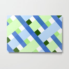 Green And Blue Lines Pattern Metal Print