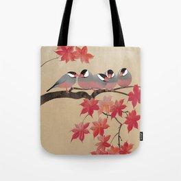 Java Sparrows in Japanese Maple Tree Tote Bag