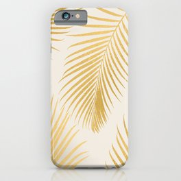 Metallic Gold Tropical Palm Fronds iPhone Case