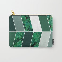 Green Herringbone #society6 #green #succulent Carry-All Pouch