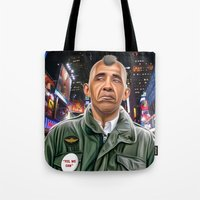 taxi driver Tote Bags featuring Obama taxi driver by IvándelgadoART
