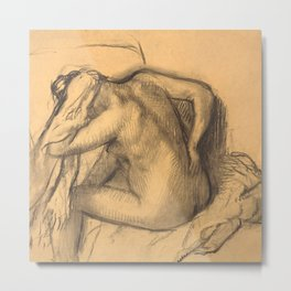 After the Bath, Woman Drying Her Hair Metal Print