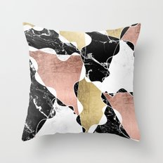 Modern white black marble rose gold foil color block handdrawn geometric lines Throw Pillow