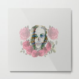 girl and flowers color Metal Print