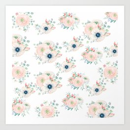 Dog Rose Pattern 2 Art Print