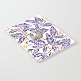 Happy Sloth – Tropical Indigo Leaves Notebook