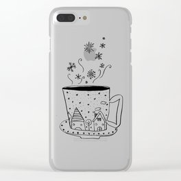 A cup of snow flakes Clear iPhone Case