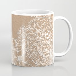 Modern white hand drawn floral illustration on rustic beige faux kraft color block Coffee Mug