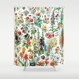 Adolphe Millot - Fleurs A - French vintage poster Shower Curtain