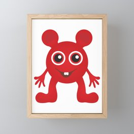Red Smiley Man Framed Mini Art Print