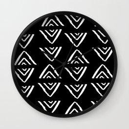 mudcloth 16 minimal textured black and white pattern home decor minimalist beach Wall Clock