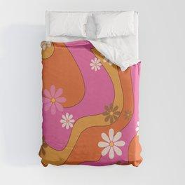 Groovy 60's and 70's Flower Power Pattern Duvet Cover