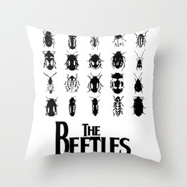 The Beetles (White variant) Throw Pillow