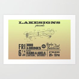 Lakesigns Poster - Honky Tonk BBQ 1-6-2012 Art Print