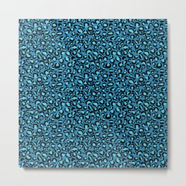 Tiny Blue Leopard Print Metal Print