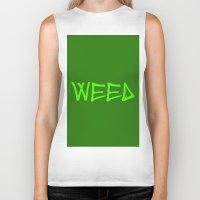 weed Biker Tanks featuring WEED by LOOSECANNONGEAR