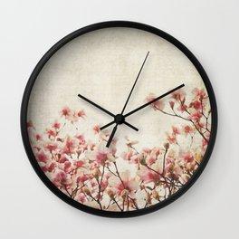 Vintage-Inspired Pink Magnolia Wall Clock