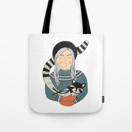 Girl and Raccoon. Tote Bag
