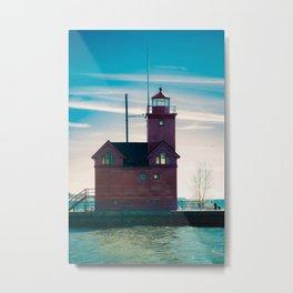 Holland Michigan Big Red Harbor Light Lighthouse Lake Michigan Metal Print