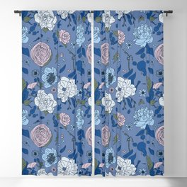 Lovely Seamless Floral Pattern With Subtle Poodles (Hand Drawn) Blackout Curtain