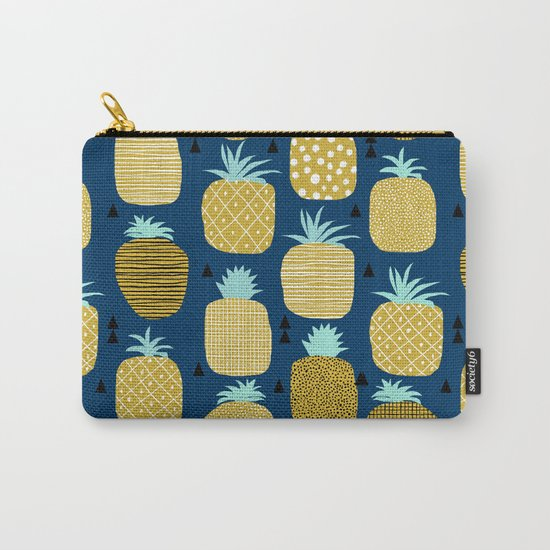Pineapple tropical navy stripes pattern summer fruits print pillow phone case Carry-All Pouch