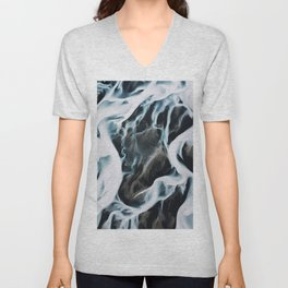 Aerial of an abstract River in Iceland Unisex V-Neck