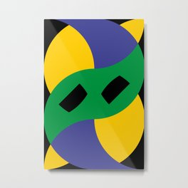 This is a very strange mask for a very strange yellow face. Or maybe it's a boomerang in a black sky Metal Print