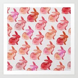 Watercolor Bunnies 1F by Kathy Morton Stanion Art Print