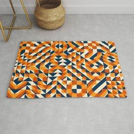 Orange Navy Color Overlay Irregular Geometric Blocks Square Quilt Pattern Rug