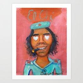 Che Guevara and hearts 4 Art Print