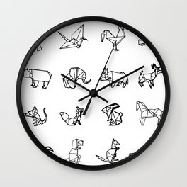 Origami Animal Set Wall Clock