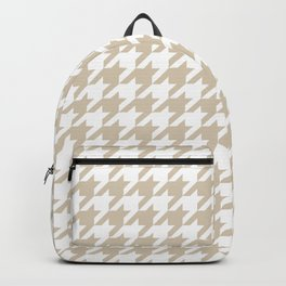 Houndstooth: Beige & White Checkered Design Backpack