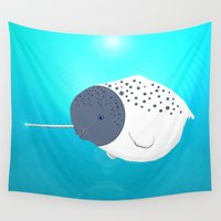narwhal Wall Tapestries featuring Fat Narwhal by Fauna Follies