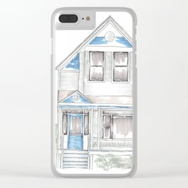 Blue Folk Victorian House Clear iPhone Case