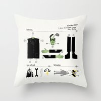 kit king Throw Pillows featuring Monster Kit by Graham Dobson