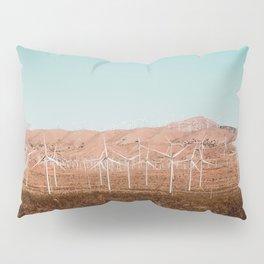 Wind turbine farm with blue sky in the desert at Kern County California USA Pillow Sham