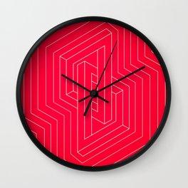 Modern minimal Line Art / Geometric Optical Illusion - Red Version  Wall Clock