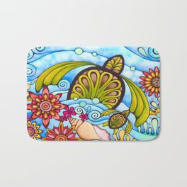 Hawaiian Tropical Flower Sea Turtle Bath Mat