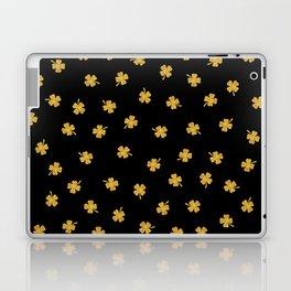 Golden shamrocks Black Background Laptop & iPad Skin