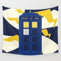 dr who Wall Tapestries featuring Jenni's Prints Dr Who Tardis by Jenni's Prints