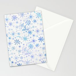 Let It Snow Winter Pattern Stationery Cards