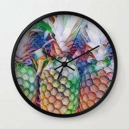 Rainbow Pineapples Wall Clock