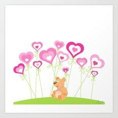 Bouquet of hearts Art Print