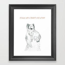 A bear with a beer and a beard Framed Art Print