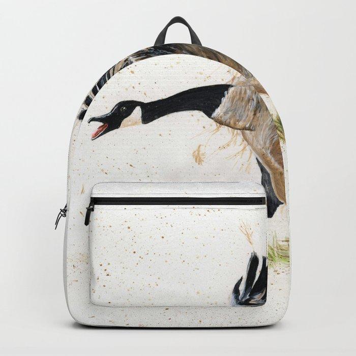 Cranky Goose - watercolor art, bird, animals Backpack