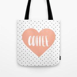 Coffee Heart - Peach Tote Bag