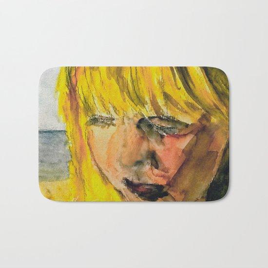 Girl on the beach Bath Mat